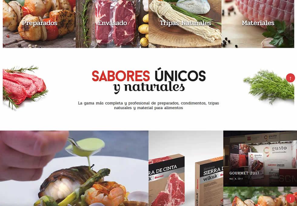 Portada web de www.gustogarantizado.com. Gusto Garantizado SL es una empresa madrileña dedicada a la industria cárnica.