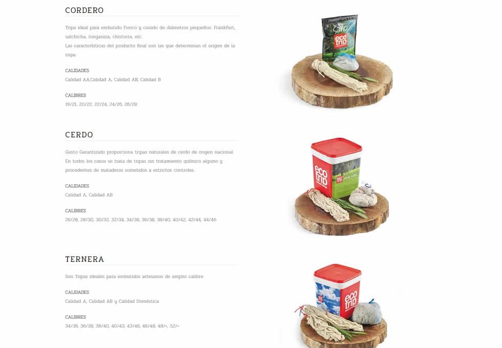 Página de catálogo de www.gustogarantizado.com.