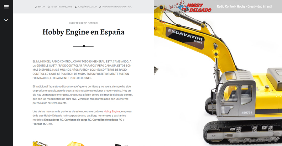 Sistema de blog en Hobby Delgado. E-Commerce B2B implementado por InPut Creativity